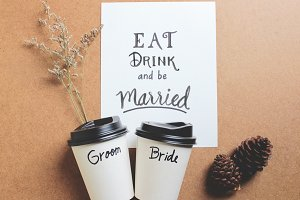 Married quote on paper with coffee