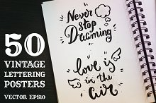 50 Vintage Lettering Poster Set