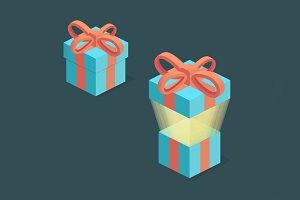 Surprise box, isometric present