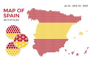 Spain Map in 3 Styles