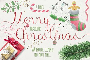 Merry Christmas [2 fonts]+Free Goods
