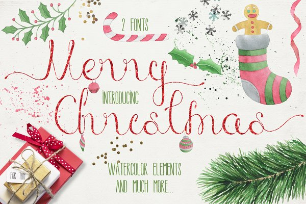 Merry Christmas [2 fonts]+Free Good…