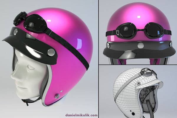 3D Appliances: Daniel Mikulik - PINK Retro Motorcycle Helmet