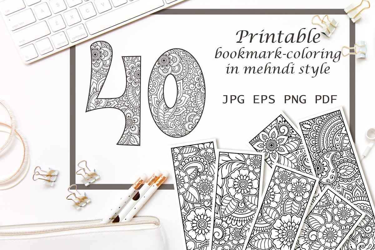 Printable mehndi bookmark-coloring ~ Illustrations ...