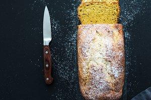 Lemon pound cake with sugar powder