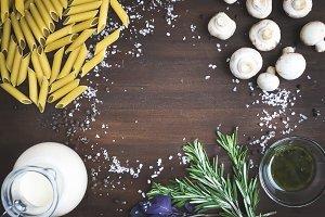 Mushroom pasta ingredients