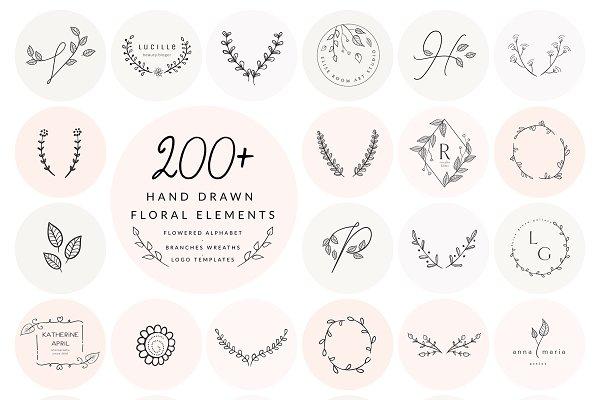 200+ Floral Elements~EPS,SVG,PSD,PNG