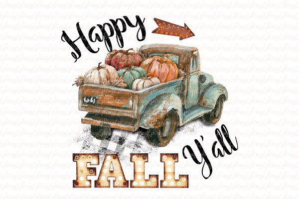 Happy Fall Y All Truck Clipart Pre Designed Photoshop Graphics Creative Market