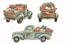 Turquoise truck with pumpkins. Fall