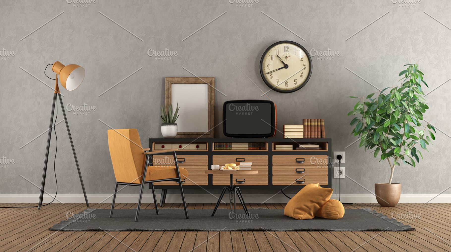 Retro living room with old tv on vin