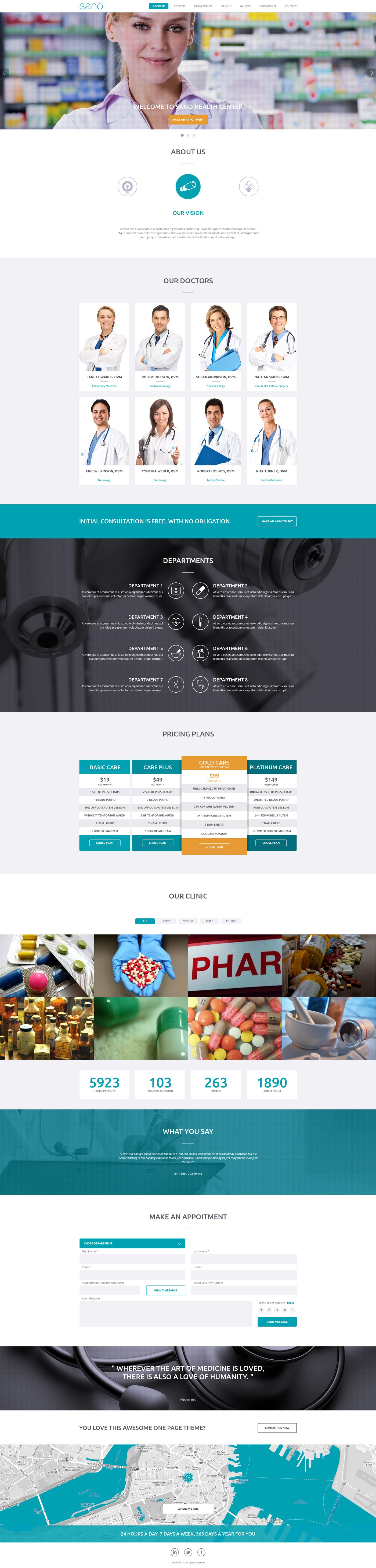 SANO Wordpress One Page Theme WordPress Business Themes - Medical landing page template