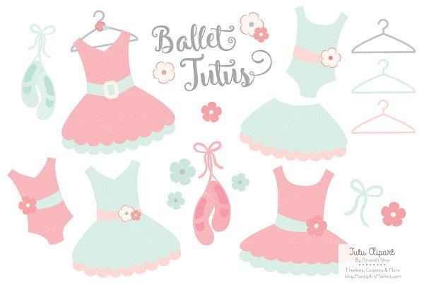 Mint & Coral Ballet Tutus Clipart