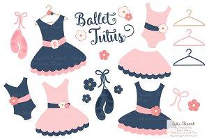 Navy & Blush Ballet Tutus Clipart