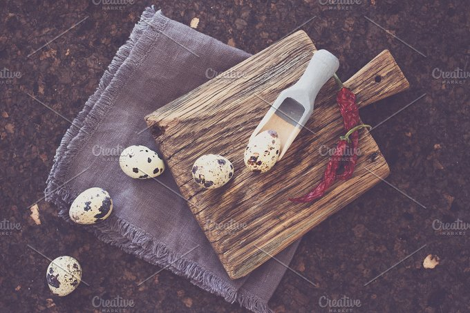 quail eggs for Easter picture. wood - Food & Drink