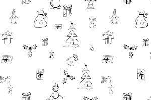 doodle Christmas B&W pattern