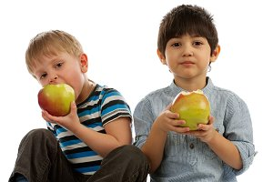 Two Boys with Apples