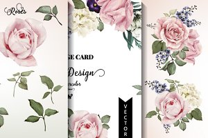 Flowers and greeting card with rose