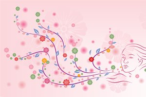 Floral design on pink background