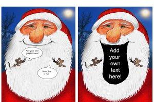 Santa Claus & two mice in his beard