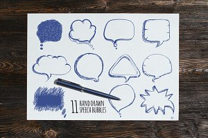 Hand drawn speech bubbles vector set