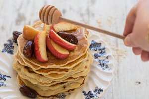 Oat Pancake with Honey Glazed Apple
