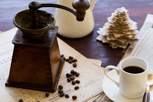 Vintage Coffee Grounder and Coffee