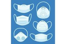 Face pollution mask. Medical masks