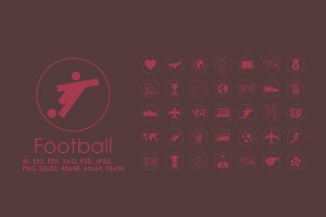 35 Football simple icons