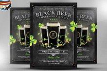 Saint Patrick's Day Black Beer Flyer