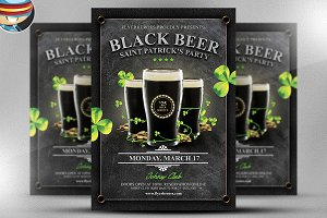 Saint Patrick's Day Black Beer Flyer