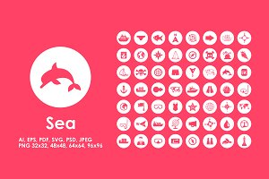 56 Sea simple icons