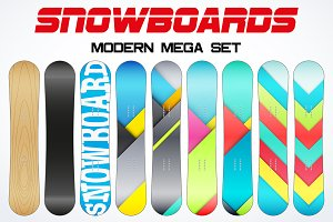 Set of Modern Snowboards