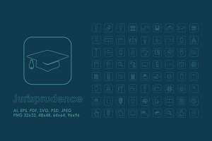 72 Jurisprudence simple icons