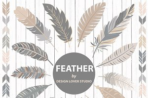 VECTOR feather clipart grey