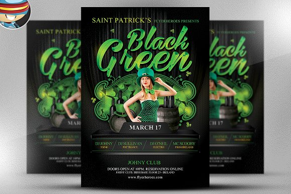 St. Paddy's Day Black & Green Flyer - Flyers