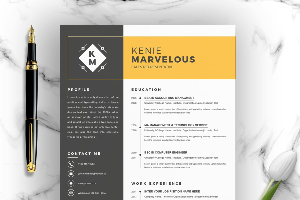 Resume Template 4 Page Cv Template Cover Letter