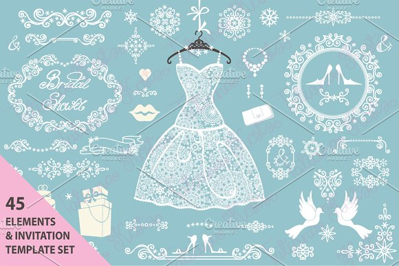 Winter wedding.Bridal shower - Invitations