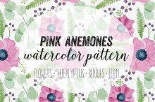 Pink Anemones Watercolor Pattern