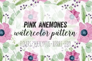 Pink Anemones Watercolor Pattern
