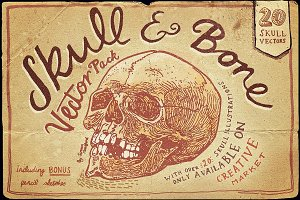 Vintage Skull and Bone Vector pack