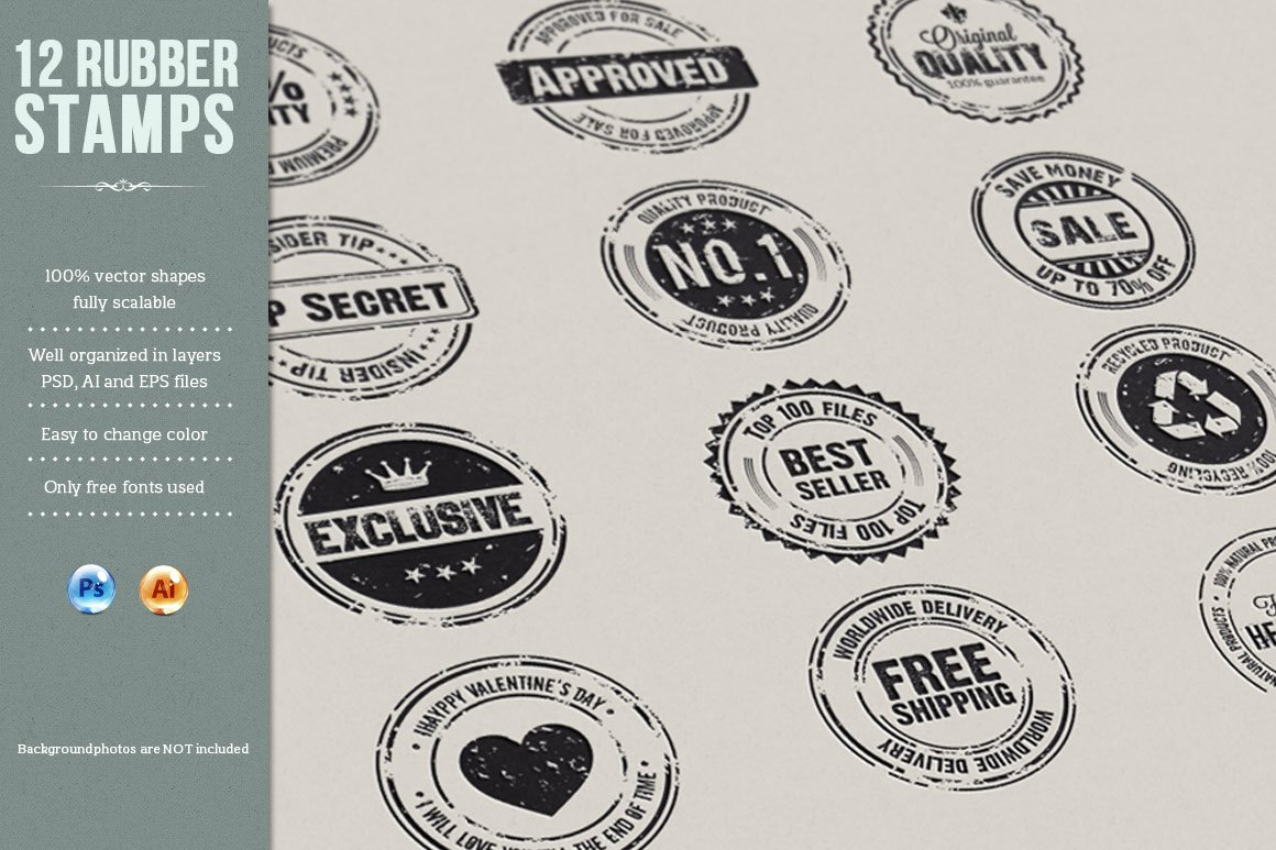12 rubber stamps ai eps and psd graphic objects creative market