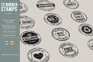 12 Rubber Stamps AI, EPS and PSD