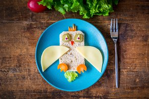 Food art: funny sandwich for kids
