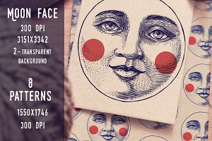 Moon Face Patterns vector