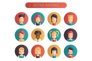 12 Active and Inactive Avatars Set
