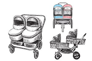 Nanddrawn Baby Carriage Clipart