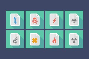 Risk Documents Long Shadow Icon Set