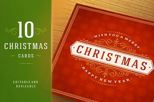 10 Christmas greeting cards + bonus