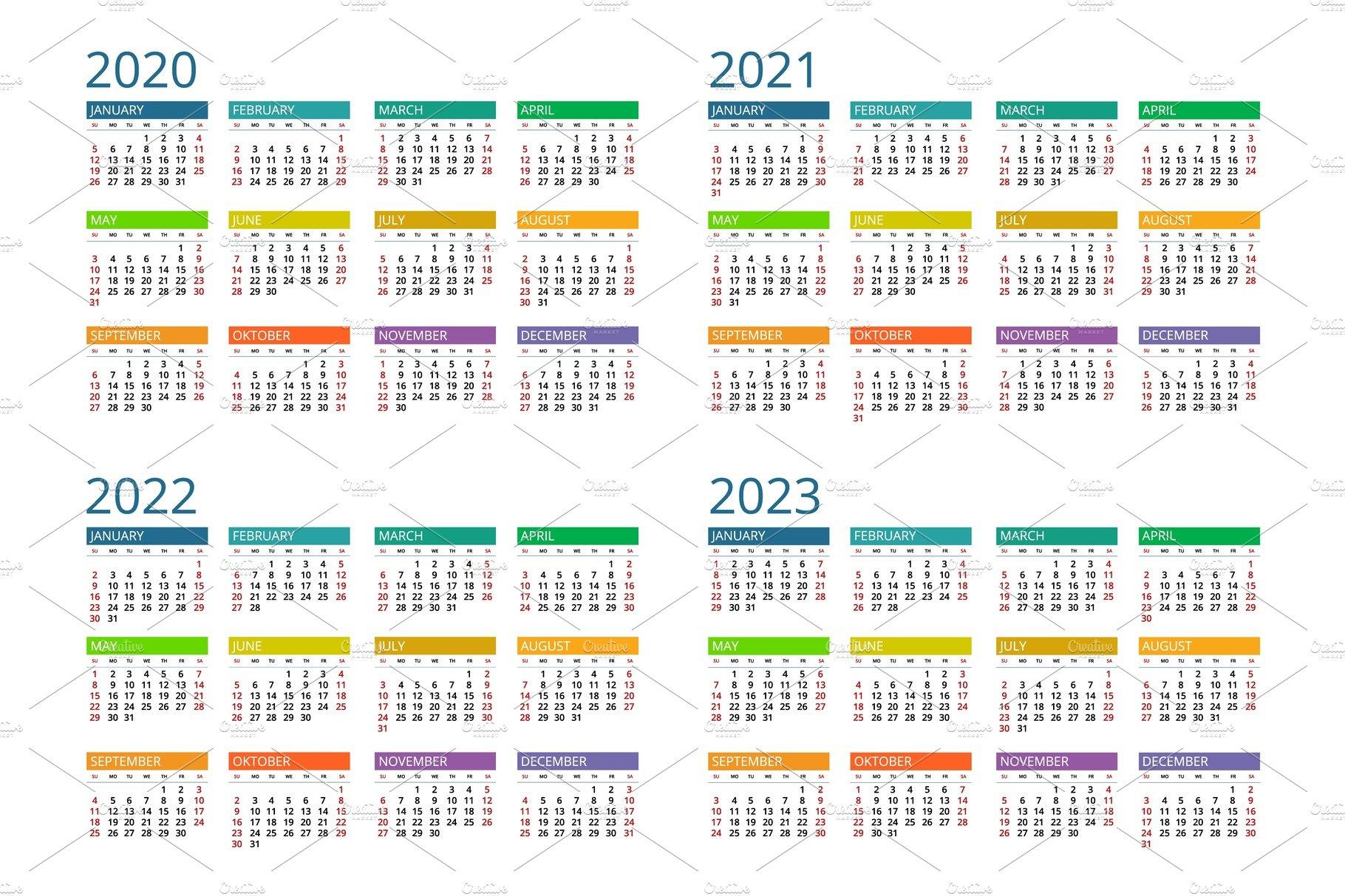 2020, 2021, 2022, 2023 calendar | Pre-Designed Vector ...