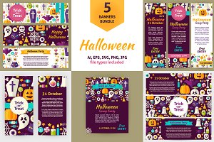 Scary Halloween  Vector Flat Banners